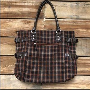 Plaid brown braciano gossip girl style purse tote